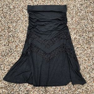 Torrid 3 22/24 Lace Inset Maxi Skirt Charcoal Gray